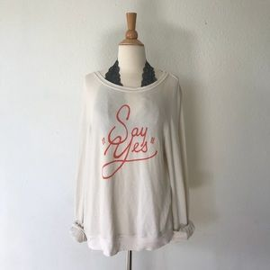 Wildfox Say Yes Graphic Long Sleeve Sweater Large